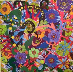 """Love Radiates - abstract painting on printed fabric by IZZO, acrylic paint on printed cotton fabric, stuffing 30""""x30"""""""