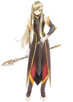 Tear Grants: Tales of the Abyss. Uses a rod, knives, healing magic, and fonic hymns in battle. A cold but practical woman who loves cute things.