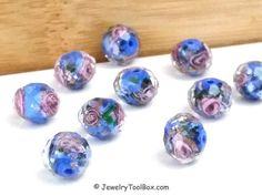 Blue Crystal Beads, Crystal Flower Inside Beads, Faceted Crystal Rondelles, Rose Flower Inside Beads, 11x9mm, Hole 2mm, Lot Size 6 to 14