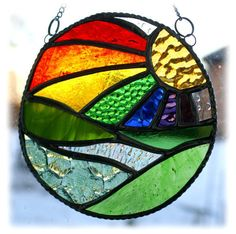 New Day Stained Glass Suncatcher Handmade Rainbow Ring £17.50 Stained Glass Chandelier, Faux Stained Glass, Stained Glass Designs, Stained Glass Panels, Stained Glass Projects, Leaded Glass, Stained Glass Patterns, Mosaic Glass, Fused Glass