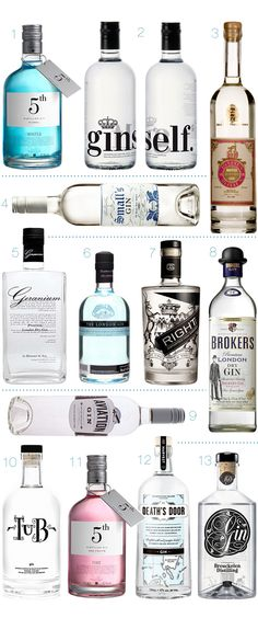 STUNNING SPIRITS : GIN  You already know I am drawn to gorgeous packaging (aren't we all?)  so it is no surprise that gorgeous bottles of spirits tend to catch my attention.    1. 5th Gin – Water  |  2. Ginself   |  3. Both's Old Tom  |  4. Small's Gin  |  5. Geranium  |  6. The London Gin  |  7. Right Gin  |  8. Broker's Gin  |  9. Aviation  |  10. Tub Gin  |  11. 5th Gin – Fire  |  12. Death's Door  |  13. Breuckelen