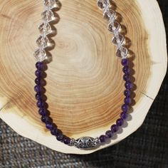 Crystal necklace, natural amethyst beads necklace, silver beads, short necklace(01060016072905)