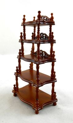 GroBartig Dolls House Miniature Furniture Lincoln Victorian Walnut Wood Shelf Unit  Etagere