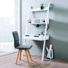 Kristina Retro Ladder Style Computer Desk In White With Storage It makes your home office corner a real eye-catcher Features: Kristina Retro Ladder Style Computer Desk In White With Storage . Small Home Offices, Home Office Desks, Home Office Furniture, Furniture Storage, Urban Furniture, Office Workspace, Small Office, Pallet Furniture, Custom Computer Desk