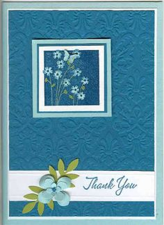 This card was made for today's color challenge: Pool Party, Island Indigo and White CS. I did add a touch of Lucky Limeade for the foliage. Scrapbooking, Scrapbook Paper Crafts, Scrapbook Cards, Embossed Cards, Card Tags, Paper Cards, Flower Cards, Creative Cards, Greeting Cards Handmade