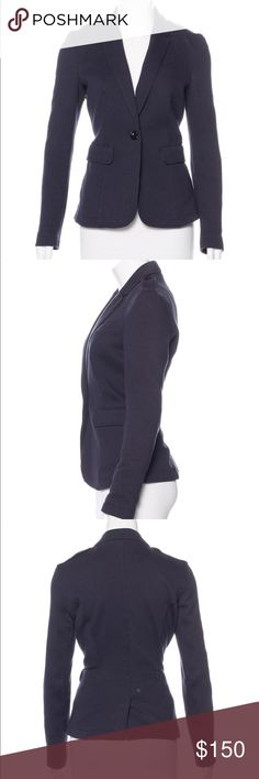 """Burberry Brit Navy Blue fitted button up blazer Blue Burberry Brit fitted blazer with epaulets at shoulders, dual flap pockets at sides and button closures at front.  Waist: 28"""" Length: 26"""" Sleeve: 32"""" Shoulder: 16"""" Bust: 36""""  Condition: Very Good. Light wear throughout. Fabric: 80% Cotton, 17% Polyester, 3% Elastane Designer: Burberry Brit Burberry Jackets & Coats Blazers"""
