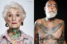 Idosos com tatuagens mostram que o estilo de vida não depende da idade. (Muita gente deveria ver isso pra não falar bobeira por aí.)