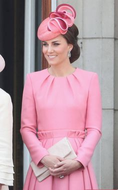 Pretty in Pink from Kate Middleton and Family at Trooping the Colour 2017  The Duchess of Cambridge looks pretty in pink.