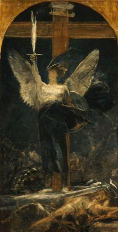 Archangel, study for the Foundation of Faith - Nikolaos Gyzis 1895 Art Nouveau, Greece Painting, Archangel Michael, Greek Art, Art Database, Angels And Demons, Angel Art, Cherub, Les Oeuvres