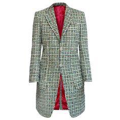 NIGEL CURTISS $1,650 women's green multi-color fantasy tweed plaid coat S NEW #NigelCurtiss #Tweed #Coat