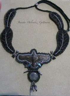beaded raven totem feather necklace