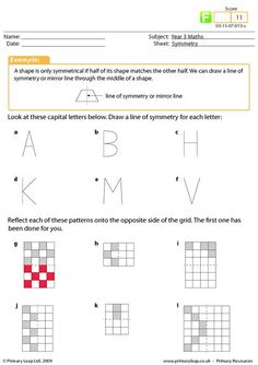 Symmetry worksheet - A primary resource for KS2 on symmetry. The child will need to draw a line of symmetry for different letters of the alphabet and complete a section on symmetry patterns.