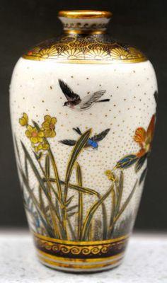 Signed Seikozan Meiji Japanese Satsuma Mixed Floral Bird Patterned Vase | eBay