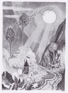 moomin moon - by Tove Jansson Moomin Books, Monochromatic Art, Moomin Valley, Tove Jansson, Children's Book Illustration, Book Illustrations, Book Characters, House Painting, Troll