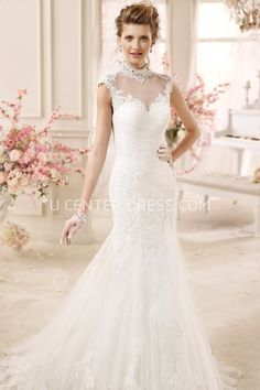 US$210.39-Elegant High-Neck Cap-Sleeve Mermaid Wedding Dress With Open Back.  http://www.ucenterdress.com/high-neck-cap-sleeve-mermaid-wedding-dress-with-illusive-design-and-open-back-pMK_704598.html.  Shop for Best wedding dresses, Lace wedding dress, modest wedding dress, strapless wedding dress, backless wedding dress, wedding dress with sleeves, mermaid wedding dress, plus size wedding dress, We have great 2016 fall Wedding Dresses on sale. Buy Wedding Dresses online at UCenterDress.com…