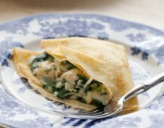 These light and delicate cornmeal crepes are the perfect vehicle for a variety of fillings. When paired with a cheesy chicken and spinach filling, you have a meal that is perfect for a week night dinner or a weekend dinner party. Chicken and Spinach Crepes By Taylor Serves 6-8 Ingredients:Get the Recipe