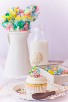 Funfetti Cupcakes decorated  with cake pops