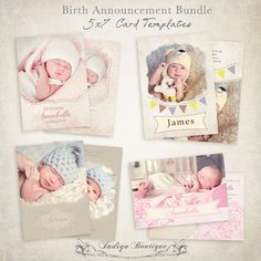 Birth Announcement Templates - Bundle - 5x7 Photo Card - Sweet Baby. $20.00, via Etsy.
