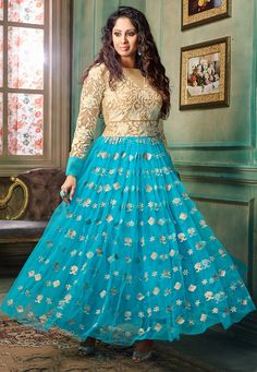 Looking for elegant Net Abaya Style Suits? Check out our elaborate range of colorful Net Abaya Style Suits created by India's finest craftsmen. Salwar Suits Online, Designer Salwar Suits, Bollywood Outfits, Lehenga Choli, Sarees, Abaya Fashion, Celebrity Look, Bollywood Celebrities, Frocks