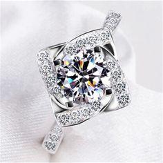 Anillos de moda para las mujeres sellado 925 de plata Anillos de Boda Amor CZ Anillo de Las Mujeres Anillo de Diamantes Mujer femme bague anillos Joyería L106