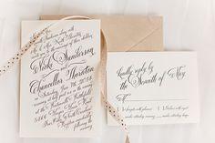 Elegant Black and Cream Calligraphy Wedding Invitation | J&J Photography | Classic Southern Ivory and Gold Wedding