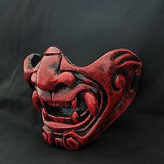Custom Halloween Costume Cosplay BB Gun Kabuki Samurai Evil Demon Oni Airsoft Mask red MA228
