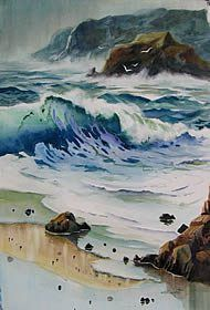 Who isnt fascinated by the movement power and incredible beauty of surging water?A career lives in this subject! Seascape Paintings, Landscape Paintings, Watercolor Paintings, Watercolours, Watercolor Ocean, Watercolor Landscape, Water Art, Sea Art, Am Meer