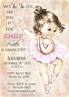 Such a cute Vintage ballerina birthday invitation