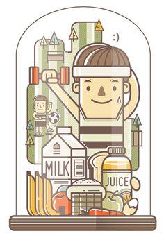 12 WAYS TO LIVE HAPPILY :) l Graphic Illustrations by alek Natthakorn Noiphim, via Behance