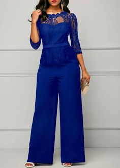 New Casual Elegant Lace Women Jumpsuits Wide Leg Long Sleeve Hollow Out Slim Work Office Rompers Macacao Feminino Women's Plus Size Jumpsuit, Lace Jumpsuit, Playsuit Romper, Jumpsuit With Sleeves, Romper Pants, Jumpsuit Shorts, Jumpsuit Style, Short Jumpsuit, Rompers Women