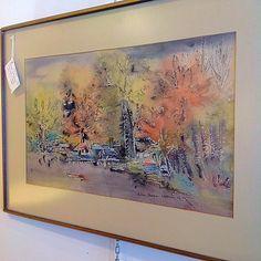 #MidCenturyModern #ArtistSigned 1968 #Watercolor #Landscape #Modernist #Painting by #NadineVartanian . Info @ link below.