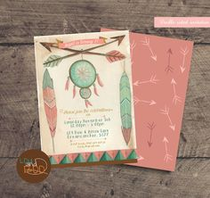 Printable Boho,Tribal bows and arrows custom birthday party invitation, double sided with arrow design on reverse