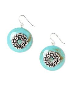 Another great find on #zulily! Turquoise & Silver Textured Sunburst Drop Earrings by Oori Trading #zulilyfinds