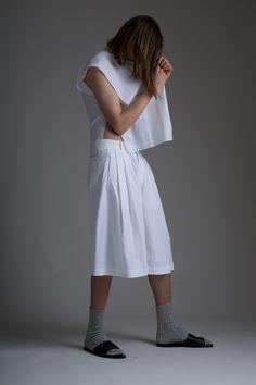 Hed Mayner Men's Tzitzit Shirt and Pleated Shorts. Designer Clothing Dark Minimal Street Style Fashion