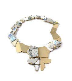 Franziska Höhne Necklace: Steps of mindfulness, 2015 Brass, copper, enamel, porcelain 30 x 20 x 1cm via Klimt02.net