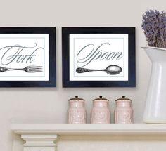 Wall Decor Kitchen Art Knife Fork Spoon Art Prints Julia Child. $39.00, via Etsy.