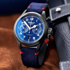 Hanhart - #FliegerFriday Edition   Time and Watches   The watch blog Apple Watch 1, Watch Blog, Space Pirate, Hand Watch, Red Accents, High Jewelry, Sport Watches, Blue Suede, Chronograph