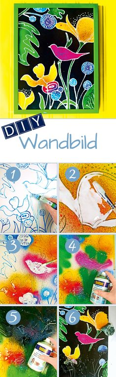 DIY Wandbild: Mit verschiedenen Motiven ein kreatives Kunstwerk zaubern. // DIY Wall painting: Glamourize a wall with different motives.