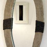 Spiegelrahmen , Oberfläche metallisiert Edelmetall handpoliert mit Steindekor