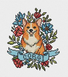 Dog cross stitch pattern PDF/ Corgi funny needlepoint counted chart tattoo/ Puppy nursey embroidery/ cute flowers pet cross stitch pattern Fabric: 14 count Aida Stitches: 81 x 98 Size: 5.79 x 7.00 inches or 14.70 x 17.78 cm -This listing is for a PDF file of the pattern, not the