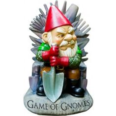 Bigmouth Game Of Gnomes Garden Gnome Perched upon his imposing royal armchair, this tyrannical gnome rules over your garden (and the seven neighbouring houses) with a weatherproof poly resin fist and is most effective at warding off common garden pests – treacherous family members, grumpkins, white walkers etc. Dimensions:(in cms) 15.3 x 13.5 x 23.3 COLLECTABLES