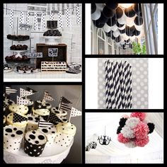 Black & white - Paper garland & little chalk board dessert table display, Pom poms, cupcakes & striped straws