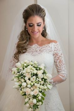 nice A gorgeous lace wedding dress perfectly accented by a draping bouquet Check more at http://www.bigweddingdress.net/a-gorgeous-lace-wedding-dress-perfectly-accented-by-a-draping-bouquet.html