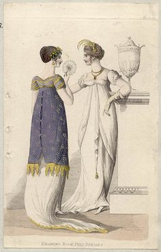 Drawing Room Full Dress. Hair decorated with something looking like a laurel wreath. Ackermann 1808
