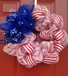 Red, white & blue deco mesh wreath, patriotic, July 4th