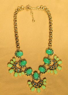 Fashion fashion accessories green gem luxury women's short design necklace from bemodia.com #necklace