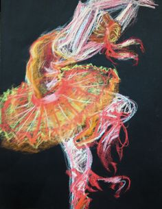 Pastel drawing with movement Great for dancers, sports person, runners, flight, demonstrating movement