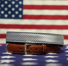 CG Stripes Belt Grey with Navy Backing American Made
