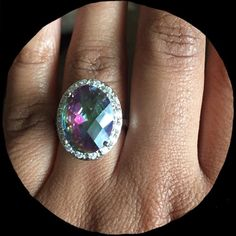 Beautiful mystic topaz and white topaz ring Size 7. Stamped 925 Renee's Rings Jewelry Rings