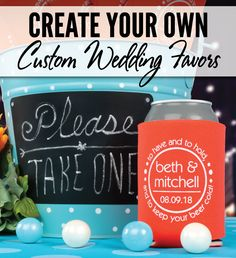 Customize the perfect wedding favor...your guests will love these functional can coolers that they can use over and over again! Every wedding #koozie order also comes with a FREE complimentary bride & groom koozie! Use coupon code PINTEREST10 and receive 10% off your wedding koozie order! Sale applies to piece price only, not valid with other coupon codes and expires July 31, 2016.
